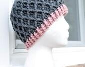 Crochet Lattice Hat - Grey and Light Pink