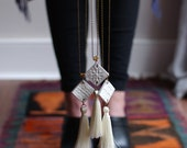 StayGoldMaryRose - Vintage chalk-white glaze 'Totem Tassel' pendant with silk thread tassel and antique brass chain.