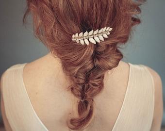 Wedding headpiece - Leaf hair comb - Leaf headpiece  - Bride headpiece - Wedding hair comb - Bridal hair comb  - Gold bridal hair comb