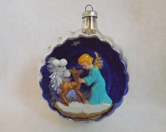 Vintage Christmas ornament glass ornament Italy diorama ornament angel and deer ornament bottle brush tree