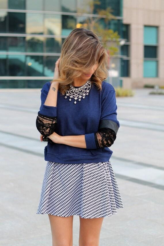 Mini skirt, Black and white skirt,  Womens skirt, High waist skirt, A line skirt, Classic skirt, Short skirt, Day skirt, Casual skirt