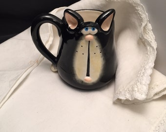 Vintage Mug,  Cat Face 3 D Coffee Tea Cup Mug,  Russ Berrie Douglas 1980's,  Whimsical, ON SALE