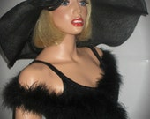 EBONY ELEGANCE- Black Sinamay Derby Hat, Extra Wide Brim Black & Rhinestone Cocktail Hat, High Tea Hat, Downton Abby Dress Hat, Wedding Hat