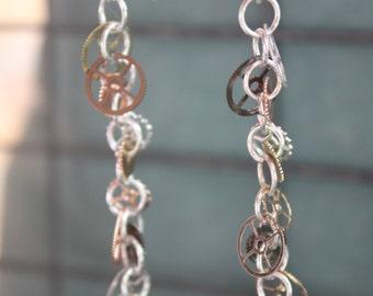 Jemma - Mixed Metal Wheel and Cog/Gear Dangle Earrings