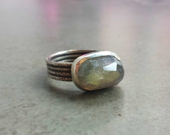 Labradorite and Silver Ring - Black Patina - Rustic - Rough Cut Ring - Size 8