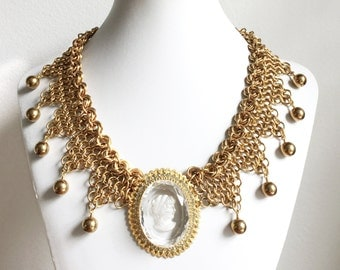 Brass Armor Necklace // Cameo Necklace, Chainmaille Necklace, Chainmail Necklace, Feminine Warrior Necklace, Vintage Cameo, Collar Necklace