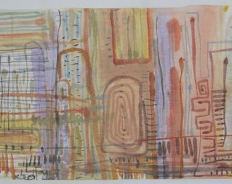"Cityscape at Sunset 28"" x 14"". Abstract watercolor on paper."