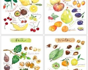 Fruit print set of 4 prints, Four seasons art, Watercolor fruit prints, Colorful home decor, Kitchen Wall art, Kitchen print set, Home decor