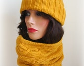 2 pcs Hand Knitted Hat And Cowl Set - Unisex Yellow mustard Hat - winter set - Women Winter Accessories Winter Fashion Winter Cowl and Hat