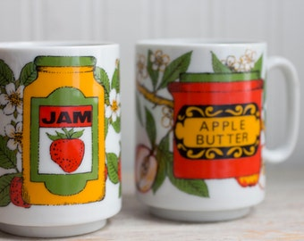 Vintage Tea Cups, Apple Butter Mug, Jam Berry Cup, Country Tea Cups, Orange Green Kitchen, Retro Garden Mugs, Tea for Two Retro Coffee Cups