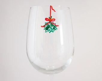 Mistletoe - Hand Painted Holiday Wine Glass - Christmas Dinnerware - Secret Santa Gift - Romantic Holiday Gift - Christmas Wine Glass