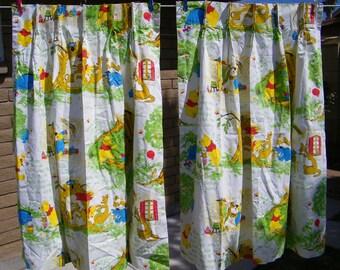 60s 70s Pinch Pleat Sears Winnie The Pooh Curtains 1960s 1970s Drapes Nursery Walt Disney Child Kids Boy Girl Bedroom Material Fabric