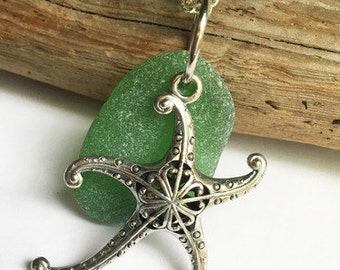 Starfish and Sea Glass Necklace - Sea Glass Jewelry, Green Sea Glass Necklace, Starfish Jewelry, Pendant Necklace