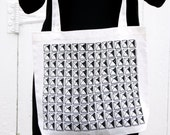 Studded tote bag. screen printed oversize bag. edgy and fun accessory. hand drawn and hand printed.