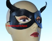 Catwoman Leather Mask with Little Cat Ears Harley Quinn Batgirl Comic Con Cosplay Superhero Halloween Costume - Available Any Basic Color