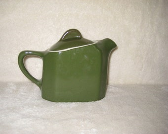 Teapot small, single serving, hunter green, vintage, by Hall