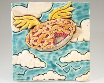 PIE IN The SKY Ceramic Art Tile, 4 x 4 Handmade Tile Wall Decor, Cherry Pie