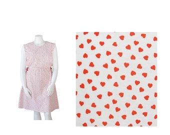 70s Dress XL • Plus Size 1970s Dress • Hearts Novelty Print • Valentine's Day XXL
