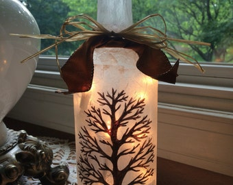 Bare Tree Wine Bottle Lamp