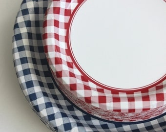 """8 RED or BLUE CHECKERED Paper Plates Gingham Nautical Picnic Navy Blue Beach Wedding Theme Bridal Shower Birthday Party Dinner Tableware 10"""""""