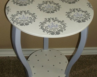 Lavender and Grey, Nursery Tables, Custom, Nightstand,Side Table, Lav GRAY Damask,End Table
