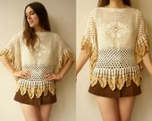 Vintage Lace Crochet Hippie Angel Sleeve Tunic Top