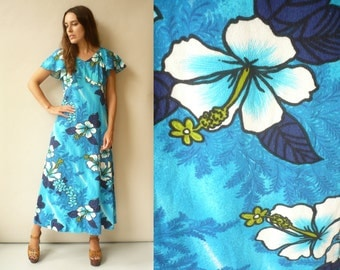 1970's Vintage Hawaiian Floral Printed Maxi Dress Size S/M -AS IS