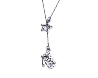 Snowflake Mitten and Star Lariat Necklace, Small Winter Charm Pendant, Silver Y-Style Necklace