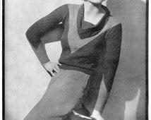 """Stunning Ladies Draped Neckline 1930s Jumper 35"""" Bust Stitchcraft 1933 Vintage Knitting Pattern Pdf"""