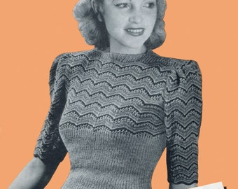 """Amazing 1940s Jumper Tight Ribbing and Stripes 34"""" Bust Copley's 1549 Vintage Knitting Pattern Download"""