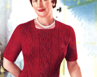 "Ladies Plus Size 1950s Lace Pullover 3 Sizes 40"" to 44"" Bust Sirdar 1590 Vintage Knitting Pattern Pdf Download"