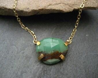 Chrysophrase necklace,rose cut stone, chrysophrase pendant, prong set pendant, odd shape stone, genuine chrysophrase, handmade, pebble shape