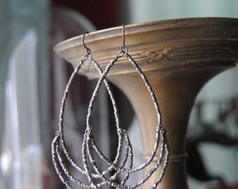 Cut Steel Layer Hoops --Antique Cut Steel Beaded Sterling Wire Hoop EARRINGS