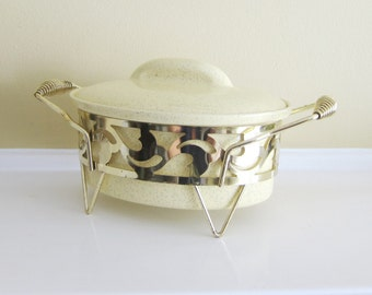 Vintage Bauer Yellow Speckled Casserole with Holder