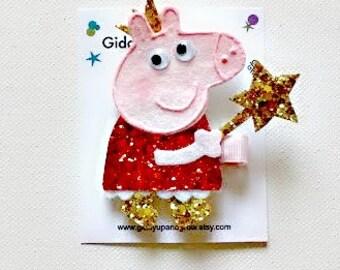Peppa Pig Inspired Hair Clip Glitter Giddyupandgrow