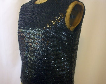 Black Sequin  Top Sleeveless Top 1960's Shell Crop Vintage 16  Med