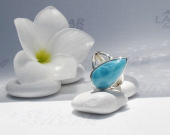 Larimarandsilver ring size 6.5, Caribbean Swim, turtleback azure Larimar pear, Caribbean turquoise ring, sapphire blue handmade Larimar ring