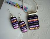 Purple Stripes Matching Pendant & Earrings Set Dichroic Glass Fused Dichroic Glass Purple Earrings Purple Pendant Artistic Jewelry Kiln Fire
