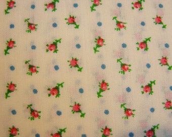 Vintage Fabric Small Red Rosebuds Floral Fabric Pastel Yellow Background
