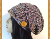 Slouch Crochet Ladies Hat with wood button and brim hat