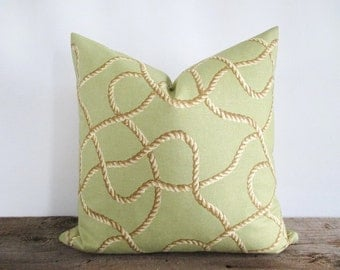 Pillow Cover Guata Loop Tommy Bahama Rope on Green Indoor Outdoor