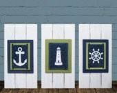 Framed Nautical Set of 3 Nursery Kids Prints Anchor, Lighthouse, Ship Wheel