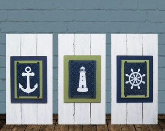 Framed Nautical Set of 3 Nursery Kids Prints Anchor, Lighthouse, Ship Wheel