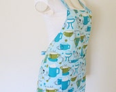 Adult Womens Apron - Short and Sassy Powder Blue Coffee Cups, Espresso Apron w/ Chevron Straps, fun to entertain in, good length for a teen
