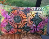 Colorful Batik Pillow, Abstract Flower Pillow, Artsy Pillow, Batik Pillow, Pillow with Sunflowers