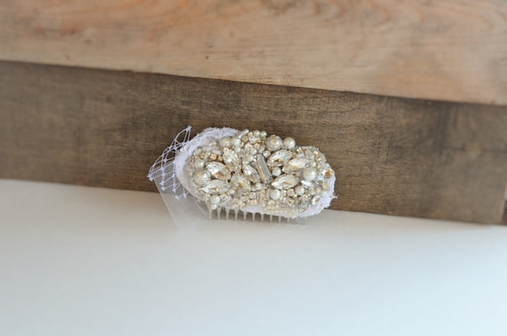 Bridal Rhinestone and Pearl with Lace hair comb, Heirloom hair comb,bridal white lace comb, Vintage comb with french netting and lace