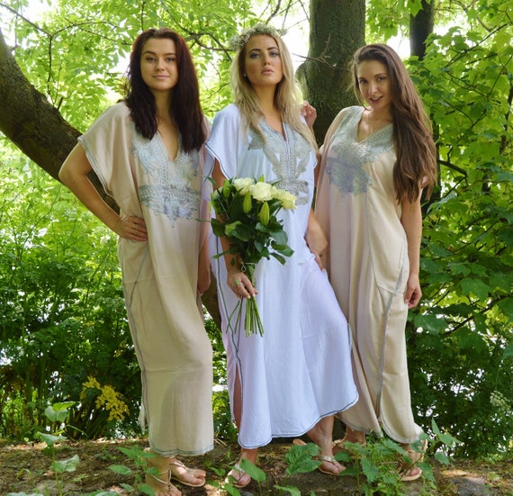 Set of 5 Bridesmaid robes,Bridesmaid gifts, Beige Silver Marrakech One Size Moroccan Kaftan-Beach wedding, bridal shower party, baby shower