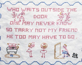 Cross Stitch Sampler, Vintage Sampler, Humorous Sampler