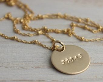 14k gold filled mothers necklace, mommy necklace, 1 name,  one child name, gold jewelry gift for her, inspirational word necklace