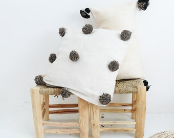 Moroccan POM POM Cotton Pillow Cover - with gray-brown wool pompoms